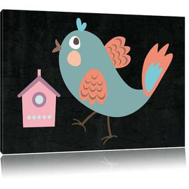image-Cute Bird with Bird House Photograph on Canvas in Black/Blue/Pink East Urban Home Size: 60cm H x 80cm W