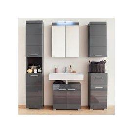 image-Amanda Bathroom LED Furniture Set In Grey High Gloss