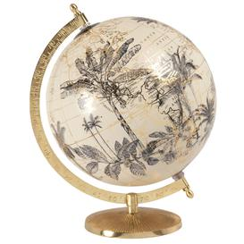 image-Earth globe world map printed with beige foliage and gold metal