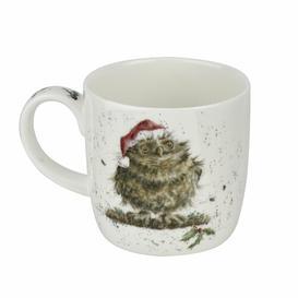 image-Wrendale Designs Owl I want for Christmas Bone China Mug Royal Worcester