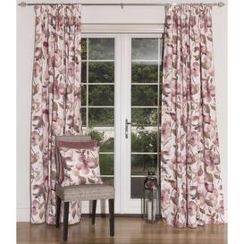 """image-Blush Pink Floral Velvet Curtains, Pencil Pleat / Standard Lining / 167cm(w) x 228cm(d) (66"""" x 90"""")"""