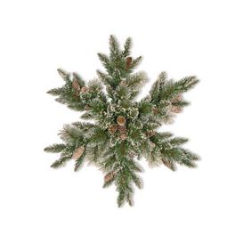 image-Sparkling Pine Snowflake Christmas Wreath with Cones - 32 inches