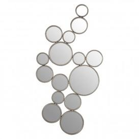 image-Zaria Large Multi Circle Wall Bedroom Mirror In Silver Frame
