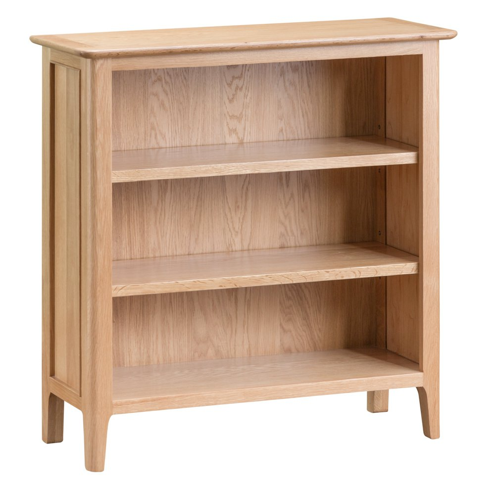 image-Bergen Oak Furniture Small Wide Bookcase