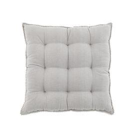 image-Dove Grey 9 Stitch Seat Pad with Pom Poms Grey
