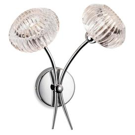 image-Firstlight 4856 Lisbon Two Light Wall Light In Chrome With Clear Decorative Glass Shades