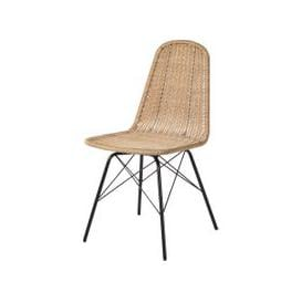 image-Rattan Effect Resin Wicker and Black Metal Garden Chair