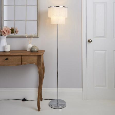 image-Jaz Fringe Ivory Floor Lamp Cream and Silver