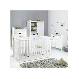 image-Obaby Stamford Sleigh Cot Bed 4 Piece Nursery Furniture Set - Warm Grey