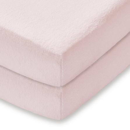 image-Pack of 2 Pink Flannelette Cot Bed Fitted Sheets Pink