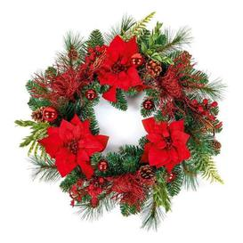 image-Outdoor Red Poinsettia Christmas Wreath
