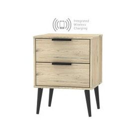 image-Hong Kong Bordeaux Oak 2 Drawer Bedside Cabinet with Wooden Legs and Integrated Wireless Charging