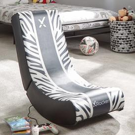 image-Video Rocker Tiger Gaming Chair X Rocker Upholstery Colour: Black/White