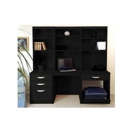 image-Small Office Desk Set With 3+1 Drawers, Printer Shelf & Hutch Bookcases (Black Havana)