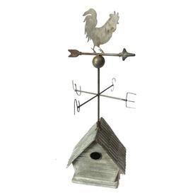 image-Falkville Mounted Birdhouse with Weathervane Fleur De Lis Living