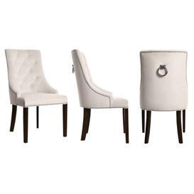 image-Savannah Upholstered Dining Chair BelleFierté Upholstery Colour: Cream, Leg Colour: Dark Brown