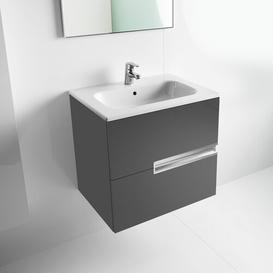 image-Victoria-N 805mm Wall Mount Vanity Unit Roca Base Finish: Gloss Anthracite Grey