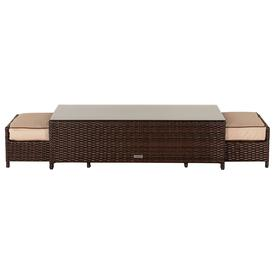image-Rattan Garden Coffee Table with 2 Footstools in Brown - Ascot - Rattan Direct