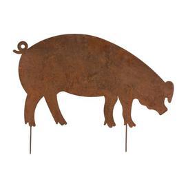 image-Krum Large Flat Pig Decoration Garden Stake August Grove Size: 54cm H x 70cm W x 0.5cm D