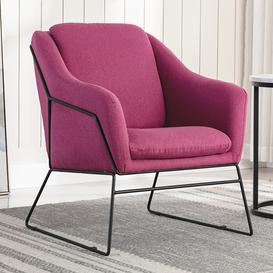 image-Karl Fabric Upholstered Accent Chair In Woven Berry