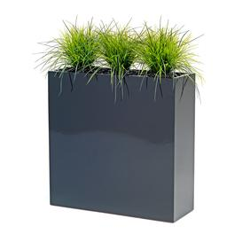 image-Large flower box with artificial grass plants