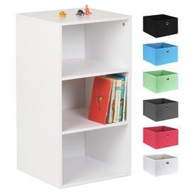 image-Hartleys White 3 Cube Kids Storage Unit