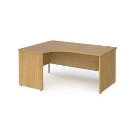 image-Value Line Classic+ Panel End Left Ergo Desk (Silver Leg), 140wx120/80dx73h (cm), Oak, Free Standard Delivery