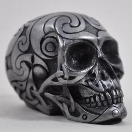 image-Celtic Skull Gun Metal Figurine Small H6cm