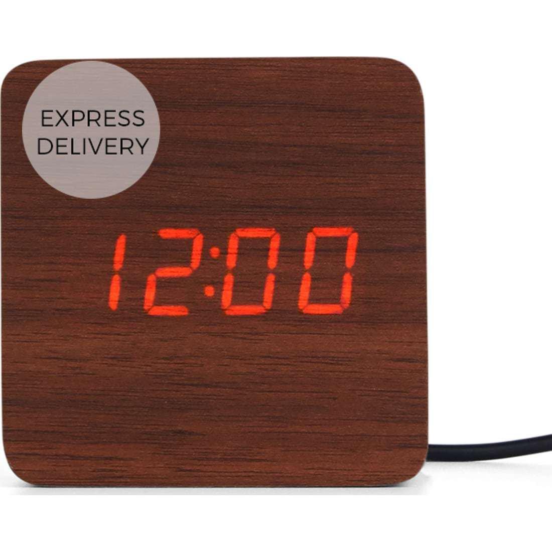 image-Odette Square Alarm Clock, Walnut