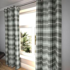 "image-Angus Charcoal Grey Tartan Curtains, 167cm(w) x 290cm(d) (66"" x 114"")"