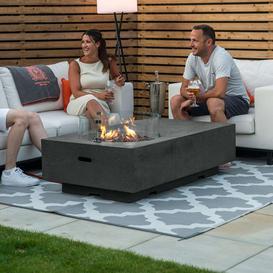 image-Nova Garden Furniture Cairns Rectangular Dark Grey Gas Fire Pit Coffee Table with Wind Guard