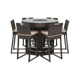 image-Dixter Garden 6 Seat Round Bar Set with Ice Bucket, Brown Weave and Beige Fabric