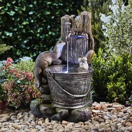 image-Nikita Resin Playing Otters Water Bucket Feature with Light