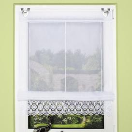 image-Uni Semi Sheer Roman Blind Three Posts Size: 130cm L x 45cm W