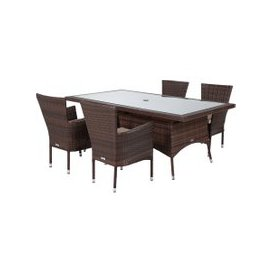image-Cambridge 4 Rattan Garden Chairs and Rectangular Dining Table Set in Chocolate and Cream