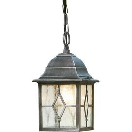 image-Traditional Black Silver Hanging Porch Chain Lantern Light with Cathedral Glass