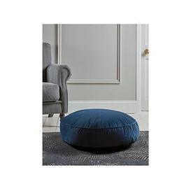 image-Cox & Cox Velvet Round Floor Cushion - Navy