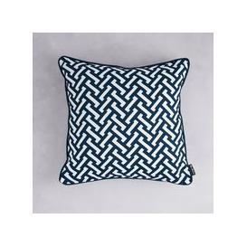 image-Florence Broadhurst Zig Zag Cotton Cushion (colour: Navy, size: 40x40 cm)