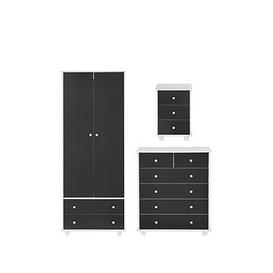 image-Miami Fresh Kids 3 Piece Package - 2 Door, 2 Drawer Wardrobe, 5 Drawer Chest, 3 Drawer Bedside Chest - Black