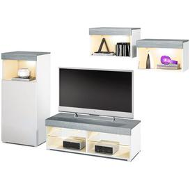 """image-Pure Entertainment Unit for TVs up to 55\"""" Vladon Colour: Black/Light Grey, Plug Type: C/F, Built In Lighting: Yes"""