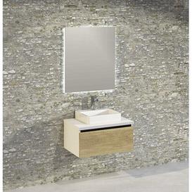 image-Rebello Bathroom 600mm Wall Hung Single Vanity Unit Brayden Studio Vanity Base Colour: Light Oak