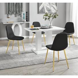 image-Samirah Dining Set with 4 Chairs Metro Lane Colour (Chair): Black