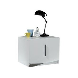 image-Caly Gloss White Bedside Cabinet With Drawer And Chrome Handle