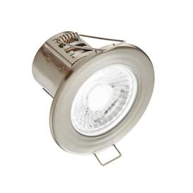 image-8W SMD LED Fire Rated Downlight, Dimmable, IP65 Rated, Satin Nickel Finish - Cool Light 4000K.