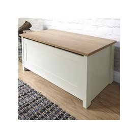 image-Valencia Storage Blanket Box In Cream With Oak Effect Top
