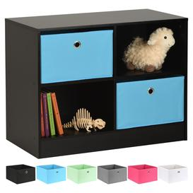 image-Hartleys Black 4 Cube Kids Storage Unit & 2 Easy Grasp Box Drawers - Blue