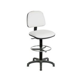 image-Medium Back PU Draughtsman Chair, White, Free Standard Delivery