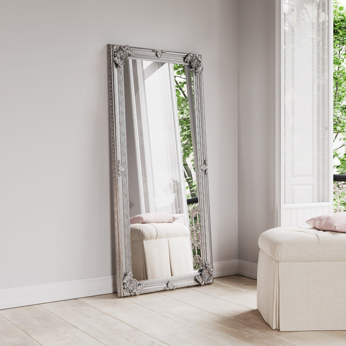 image-Mona Large Silver Wooden Mirror