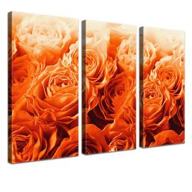 image-Bed of Roses 3 Piece Graphic Art Print Set on Canvas in Orange East Urban Home