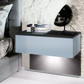 image-Sleep 1 Drawer Bedside Table Vladon Colour (Frame / Table Top): Denim Matt/Black, Lighting: With LED